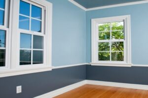 Interior Painting - Living Room - Two-Tone Blue - ProTEK Painters - Newton MA
