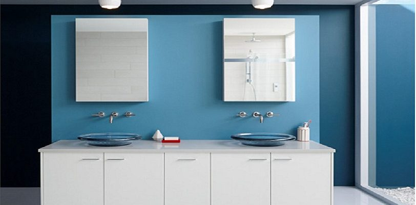Bathroom in Blue Paint - Ben Moore - Blue Daisy