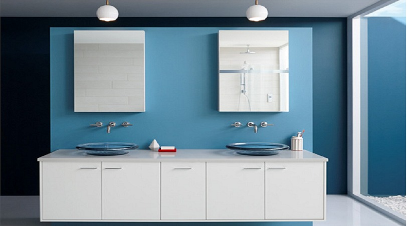 Bathroom in Blue Paint - Ben Moore - Blue Daisy