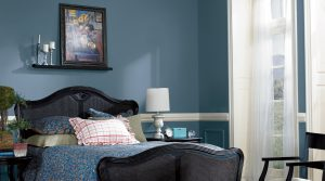 Paint Your Home Happy - Bedroom with blue paint and crisp white accents