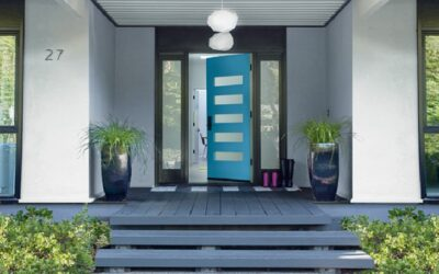 Blue Paint Exterior - Front Door and Porch - Misty Gray - Blue Lake - ProTEK Painters of Newton MA 812x451