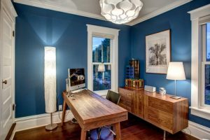 Blue Paint on Walls of Home Office - ProTEK Painters of Newton, MA