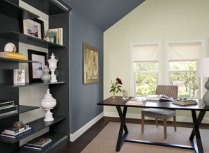 Home Office - Blue Paint on Accent Wall - Normandy 2129-40 BM - ProTEK Painters of Newton 400
