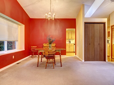 Satin Paint Sheen Finish - Dining Room - Red Orange - ProTEK Painters Newton MA 400x300