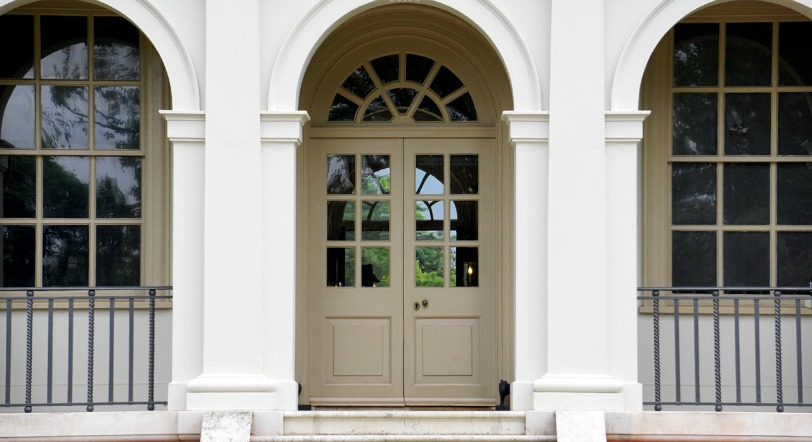 Exterior Paint - ProTek Painters - Newton, MA - Front door color camel - arched door