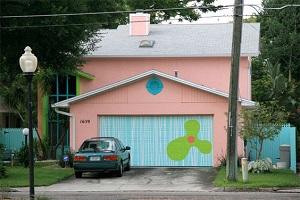 Exterior Painting Techniques - ProTek Painters - Newton, MA - Dr Seuss House Peach and Aqua Blue