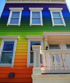 Exterior Painting Techniques - ProTek Painters - Newton, MA - The spectrum rainbow house red, orange, yelow, green, blue