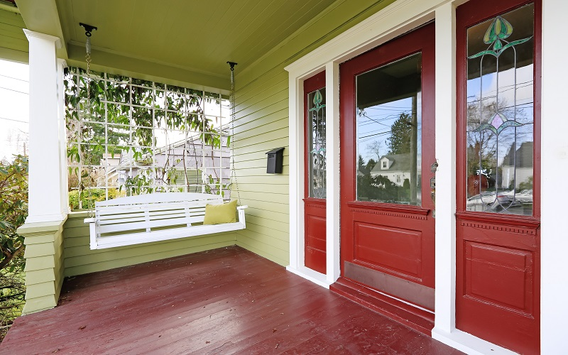 Bold Exterior Paint Color Scheme - Lime Green and Red - ProTEK Painters Newton MA