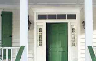 Exterior Paint Ideas - Green Front Door - ProTEK Painters Newton MA