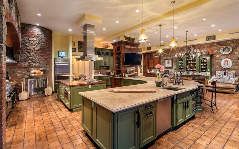 Tuscan Kitchen Paint Colors - Olive Green, Golden Yellow - ProTEK Painters Newton MA 800x500