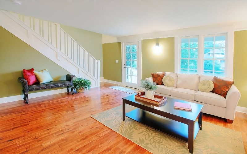 Waltham MA Painting Contractors - ProTEK Painters - Green Painted Living Room and Staircase with White Trim