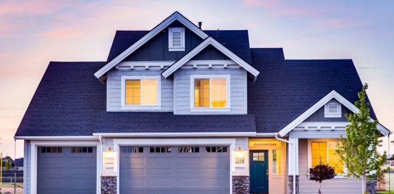 House Painting - ProTEK Painters - Newton, MA - Two Story Exterior Light Blue White Trim Dark Blue Door Brick Trim