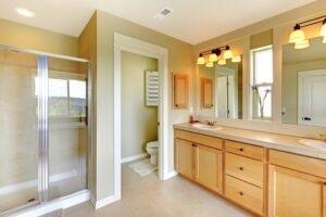 Bathroom Painting - Sage Green and White Bathroom Paint Colors - Newton, MA - ProTEK Painters