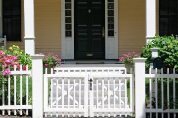 Curb Appeal - Black front door with white fence and nice landscaping - ProTEK Painters, Newton MA