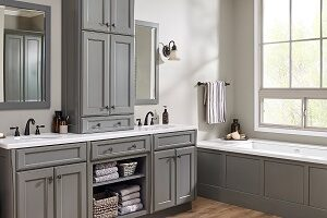 Dark gray and white bathroom has timeless and elegant appeal