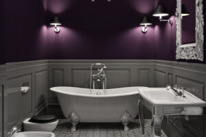 Purple and gray create a vintage atmosphere