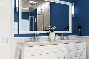 Indigo with white trim looks sharp and appealing