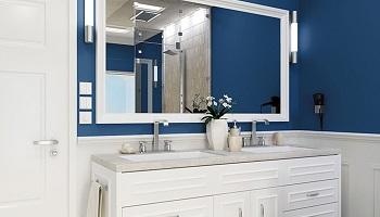 SW Indigo Blue Bathroom Painting - ProTEK Painters - Newton MA