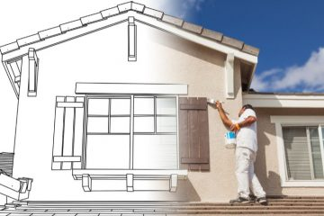 House Painting Tips - ProTEK Painters - Needham, MA - Professional painter on roof painting shutter brown