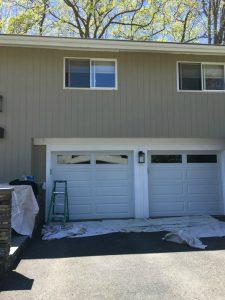 AFTER - Exterior Painting - ProTEK Painters - Needham, MA - Split Entry Double Garage Doors White