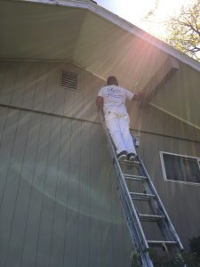 Exterior Painters - ProTEK Painters - Needham, MA - Exterior Painter on second story ladder painting eaves