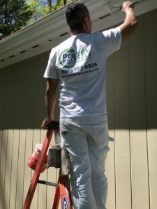 House Painting - ProTEK Painters - Needham, MA - Exterior Painter on ladder painting eaves white