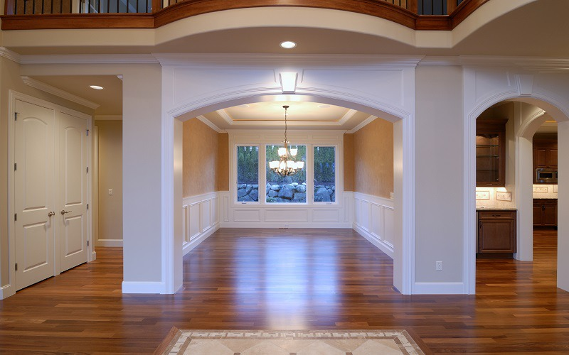 Painting Contractors - ProTEK Painters - Newton Highlands Painters - Dining Room and Living Room Painted Taupe White Trim
