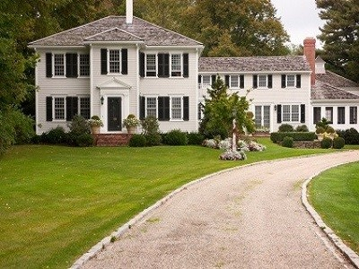 Painting Contractors - Protek Painters - West Newton, MA - Large Two Story White House Black Shutters