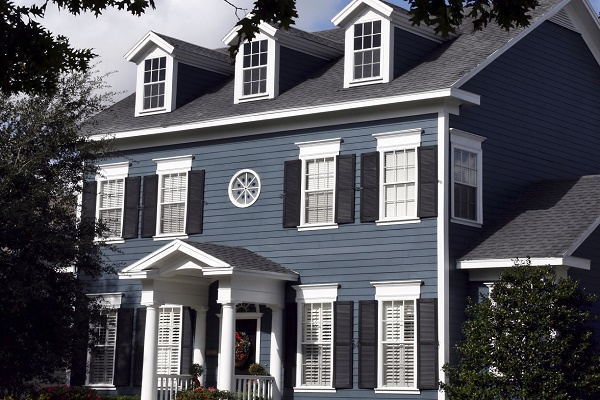 Dark Blue Colonial with Black and White Trim