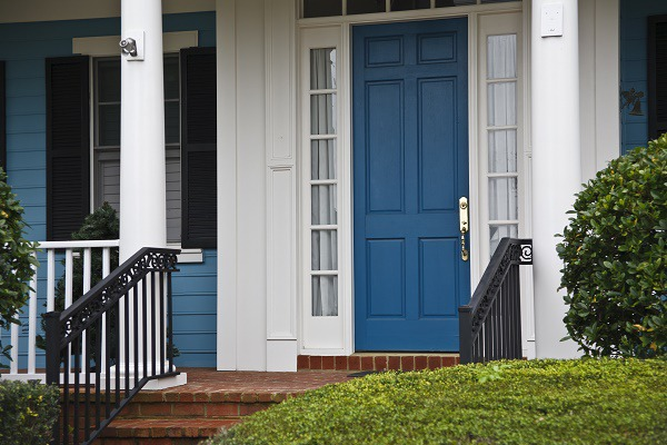 Blue House - White Porch - Blue Front Door Painting