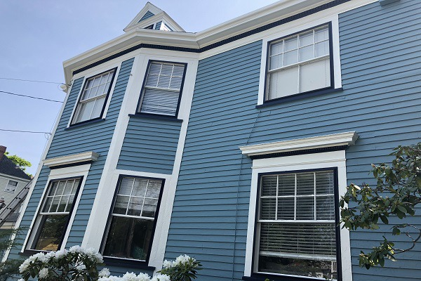 Exterior Painters of Newton MA - Blue House with White Trim - ProTEK Painters