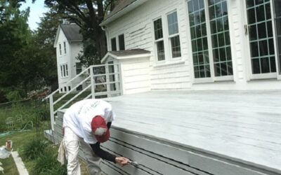 Painter Working on Porch Trim - Newton MA - ProTEK Painters