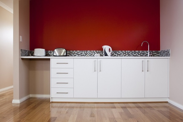 Red Walls White Kitchen Cabinets - Newton MA - ProTEK Painters
