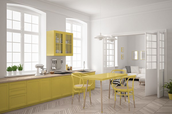 Cheery Yellow Painted Cabinets - White Walls