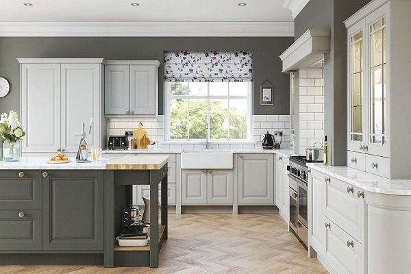 Two-toned White and Gray Kitchen Cabinet Painting Colors - Newton MA - ProTEK Painters