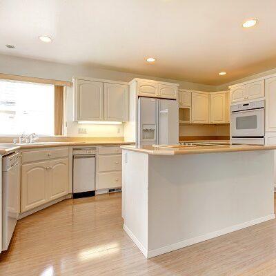 White Kitchen Cabinets Light Oak Flooring ProTEK Painters Newton MA