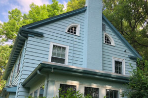 Exterior Painting - Auburndale Newton MA - Back Blue House White Trim - ProTEK Painters Cropped