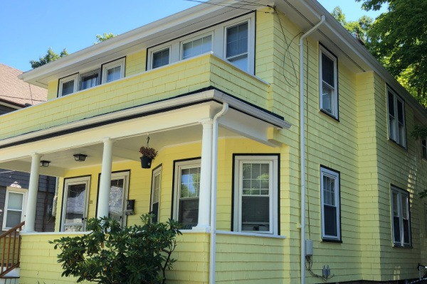 2 AFTER – Exterior Painting – Newton MA – Yellow with White Trim – ProTEK Painters 600X400