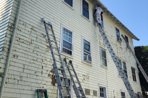 2 BEFORE – Exterior Painting – Newton MA – Peeling two-story – ProTEK Painters 600X400
