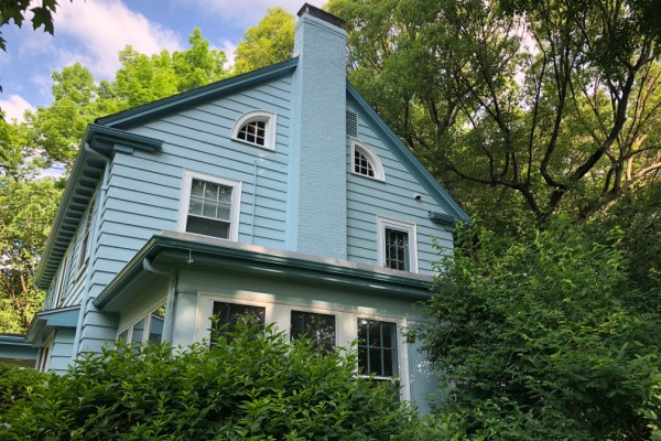 AFTER – Exterior Painters Newton MA – Repaint to Blue Two-Story Chimney – ProTEK Painters 600×400