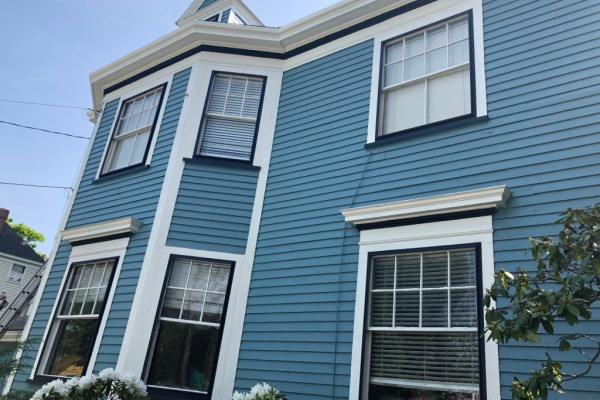 AFTER – Exterior Painting Blue with White Trim in Newton, MA – ProTEK Painters 600X400