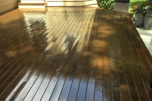 AFTER deck stain and seal – Newton MA – ProTEK Painters 600×400