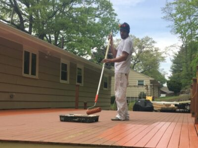 BEFORE Deck Staining and Sealing - Newton, MA - ProTEK Painters 600X400
