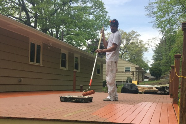 BEFORE Deck Staining and Sealing – Newton, MA – ProTEK Painters 600X400