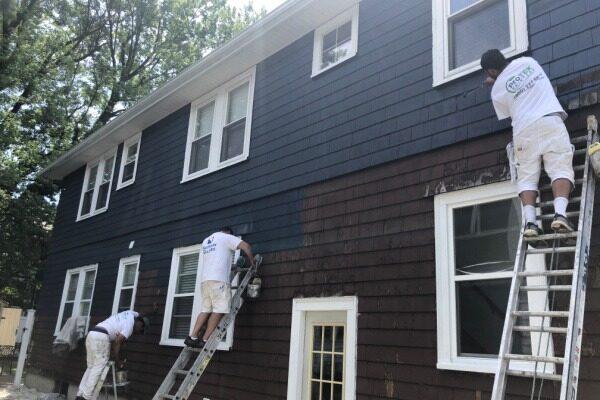BEFORE - Repaint Brown House to Black - Newton MA - ProTEK Painters 600x400