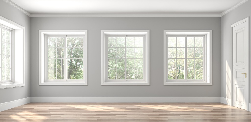 Interior Painting - Living Room with Gray Walls, White Trim - Newton, MA
