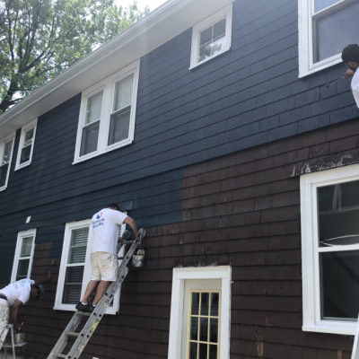 BEFORE - Repaint Brown House to Black - Newton Painting Company - ProTEK Painters 600x400 Comp