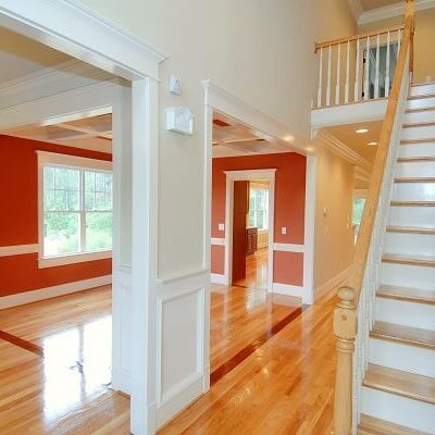 Interior Painting of Living Room - Red, White, Staircase - West Newton, MA